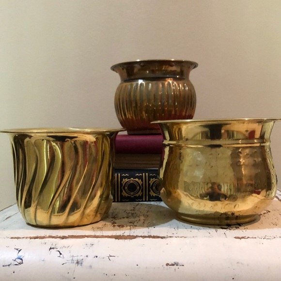 Vintage Brass Planters set of 3 GUC
